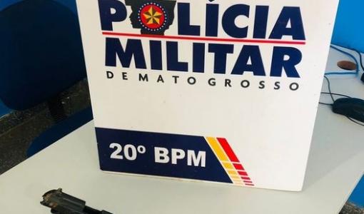 Polícia Militar de Juína apreende uma pistola calibre 380